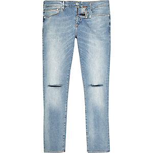 Blue Danny ripped knee super skinny jeans