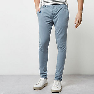 Blue stretch super skinny chino pants