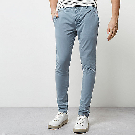 Blue stretch super skinny chino trousers