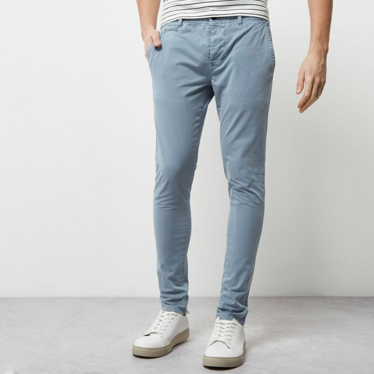 pantalon chino super skinny stretch bleu pantalons promo homme. Black Bedroom Furniture Sets. Home Design Ideas