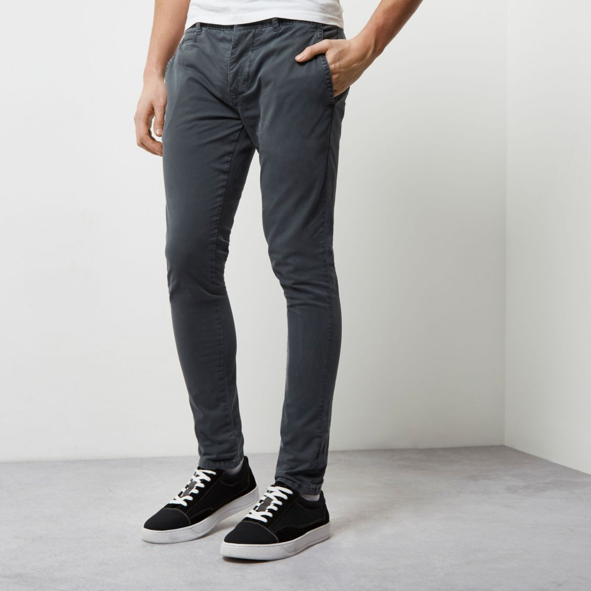 Dark grey stretch super skinny chino pants