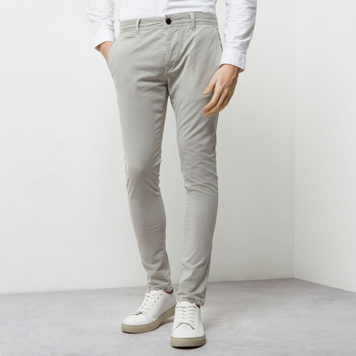 Grey stretch super skinny chino trousers