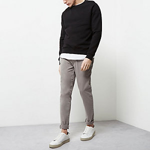 Grey stretch skinny chino pants