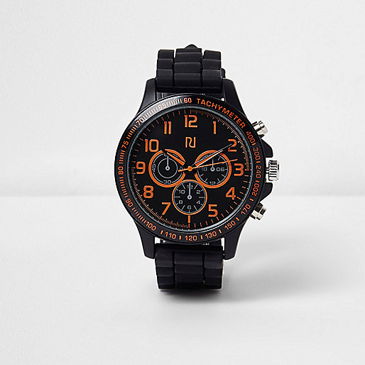 Black and orange highlight rubber watch