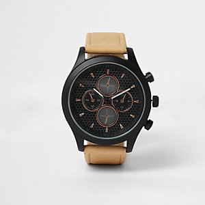 Armbanduhr in Hellbraun, Schwarz und Roségold