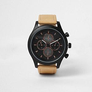Zwart met roségoudkleurig horloge met lichtbruin bandje