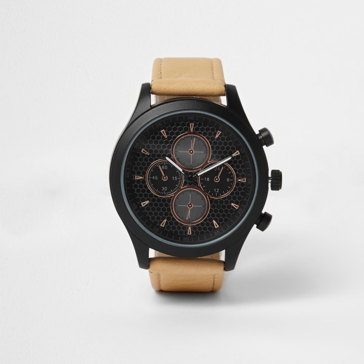 Light brown and black rose gold tone watch
