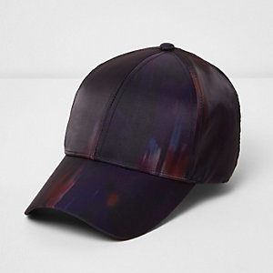 Purple abstract print cap