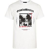 White Santa Monica print T-shirt