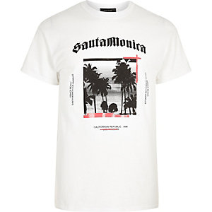 White Santa Monica print T-shirt