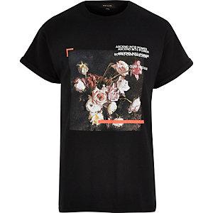 Black oversized floral box print T-shirt