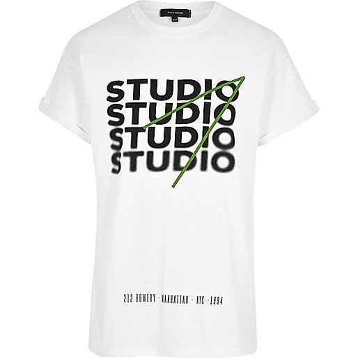 White oversized fit 'Studio' print T-shirt
