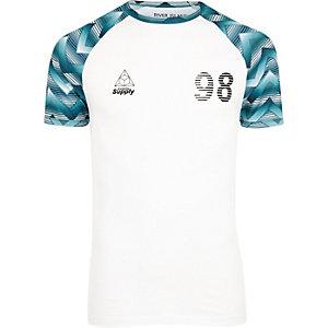 T-shirt ajusté imprimé géométrique blanc à manches raglan