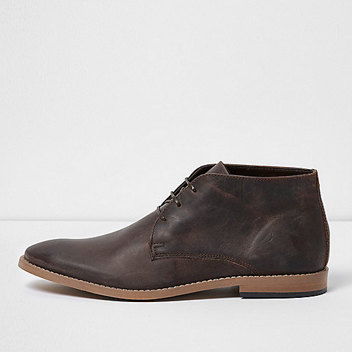 Dark brown leather chukka boots