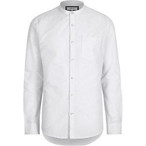 Weißes. legeres Oxford-Grandad-Hemd