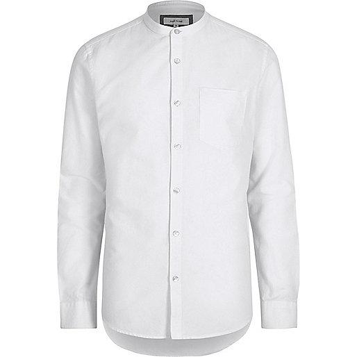 White casual Oxford grandad shirt
