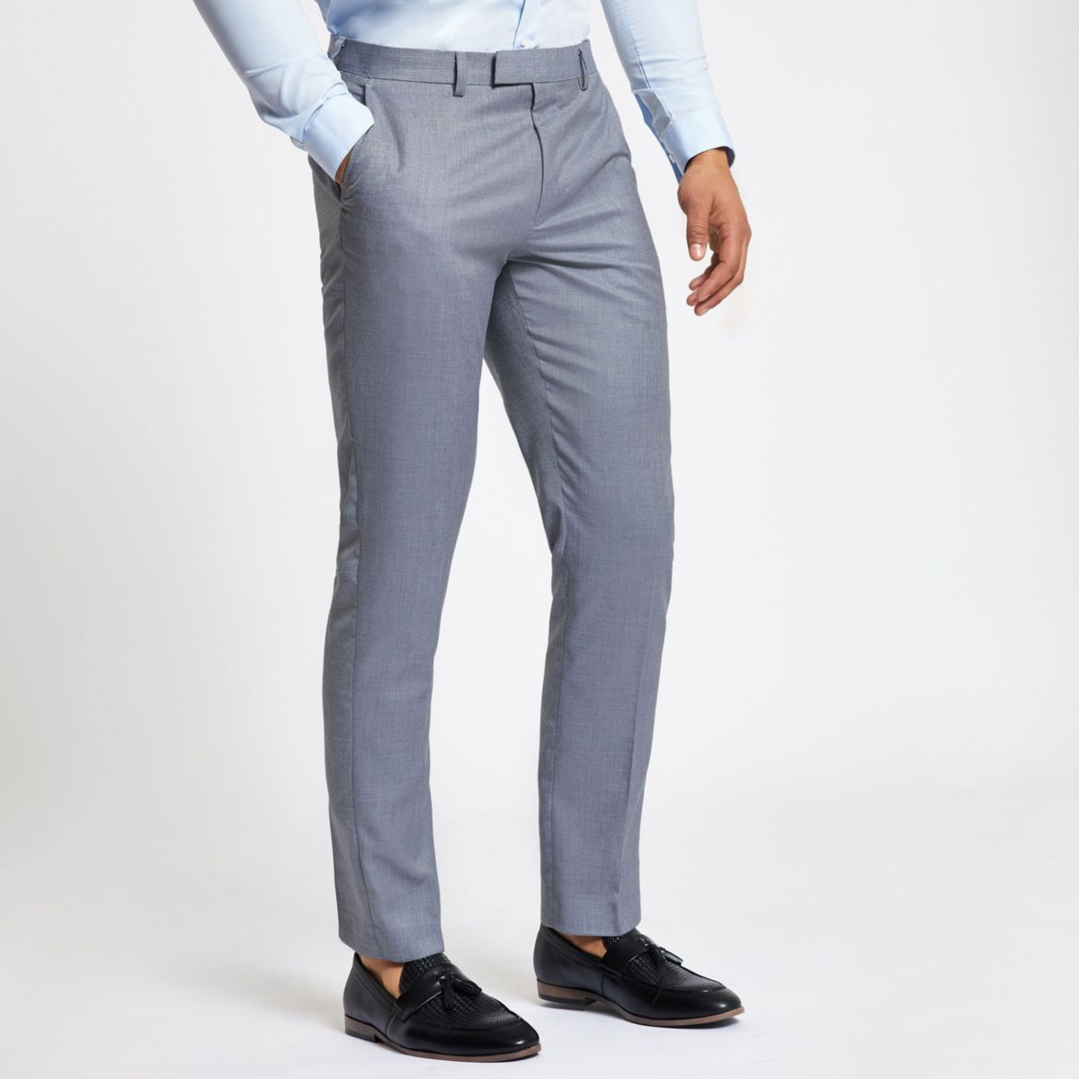 Light blue slim fit suit pants