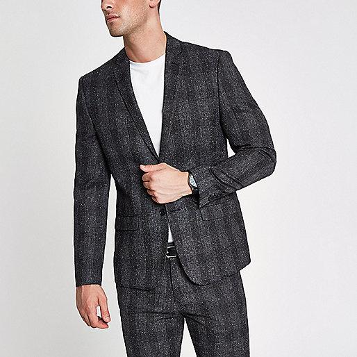 Grey check skinny suit jacket