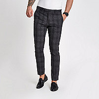 Grey check skinny suit pants