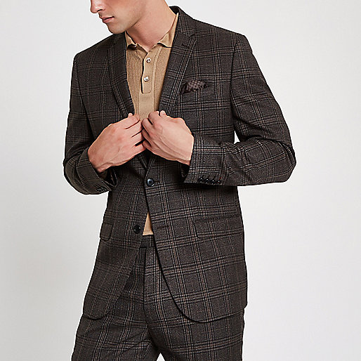 Brown check slim fit suit jacket