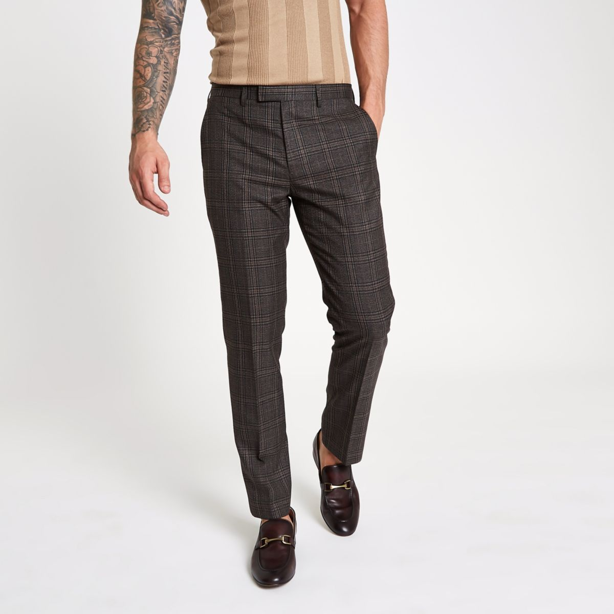 Brown check slim fit suit trousers