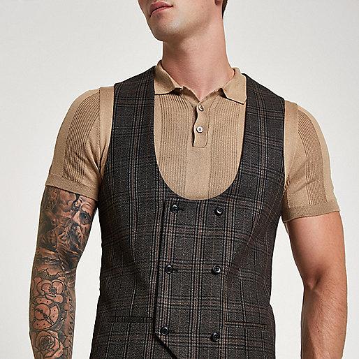 Brown check suit vest
