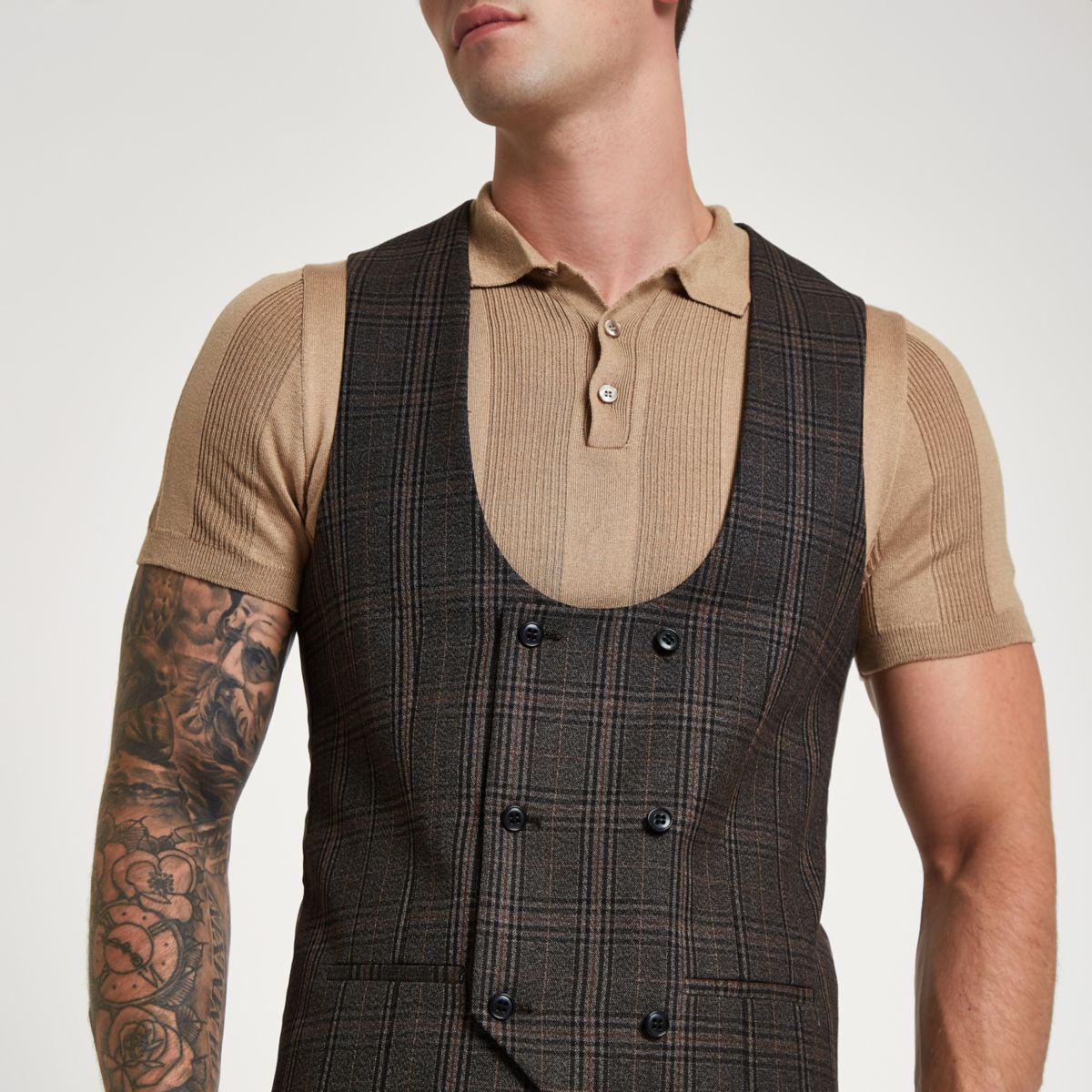 Gilet de costume à carreaux marron
