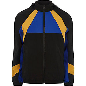 Black colour block sports jacket