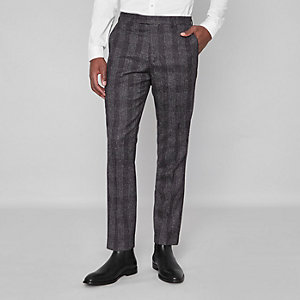 Graue, karierte Slim Fit Hose