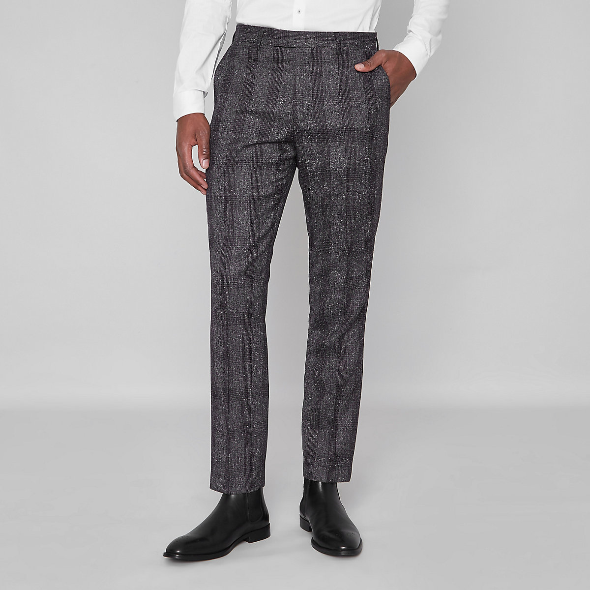 Grey check slim fit suit trousers - Trousers - Sale