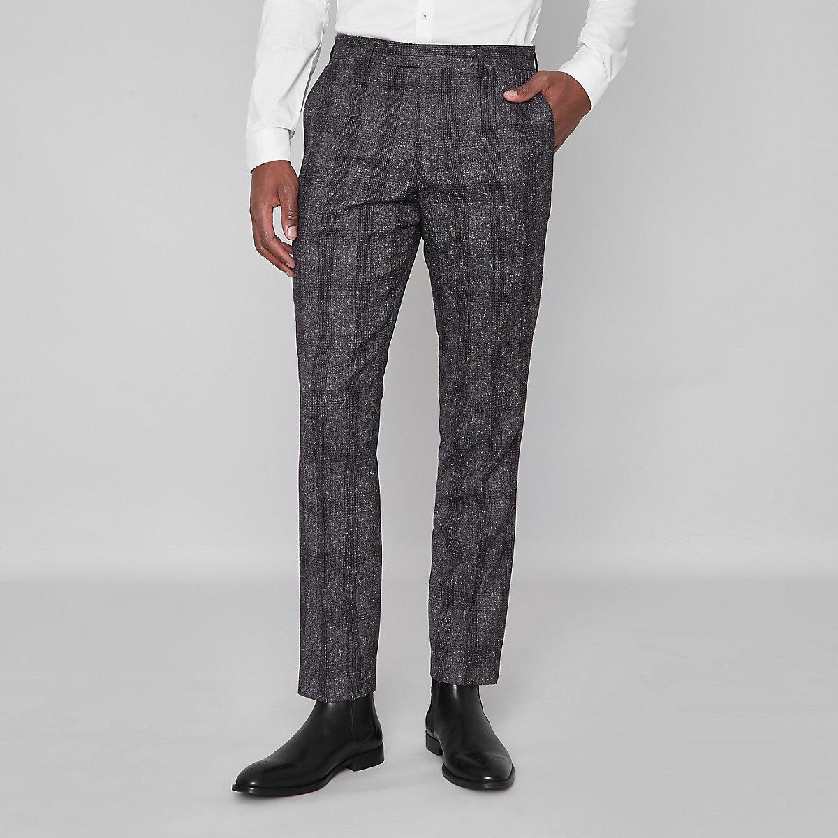 Grey check slim fit suit pants