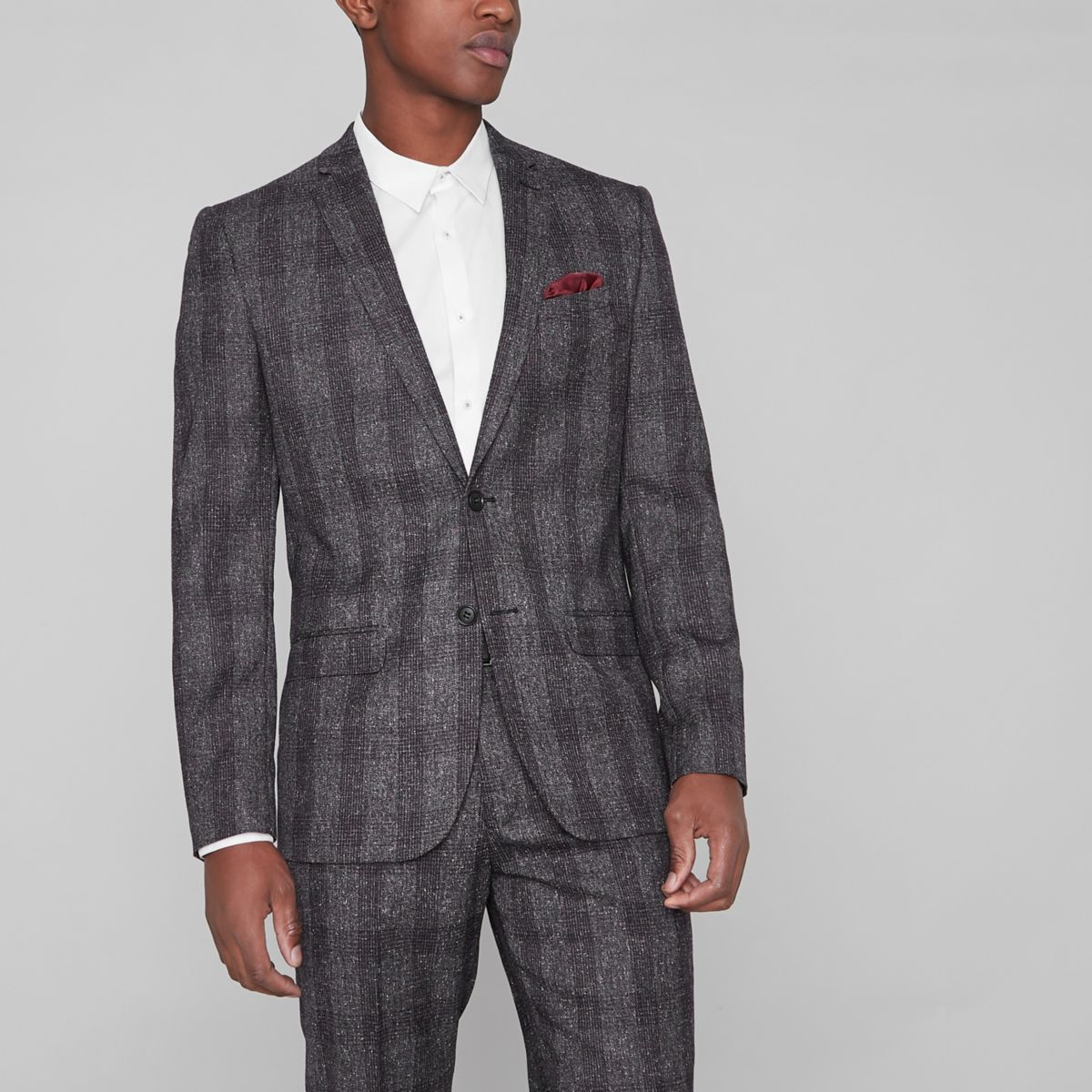 Grey grindle check slim fit suit jacket