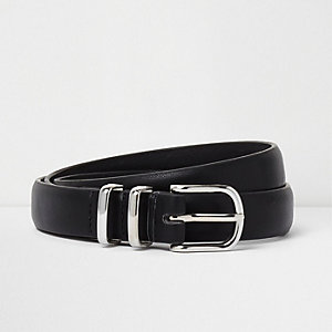 Black silver tone double hoop keeper belt