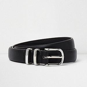 Zwarte riem met twee zilverkleurige lussen