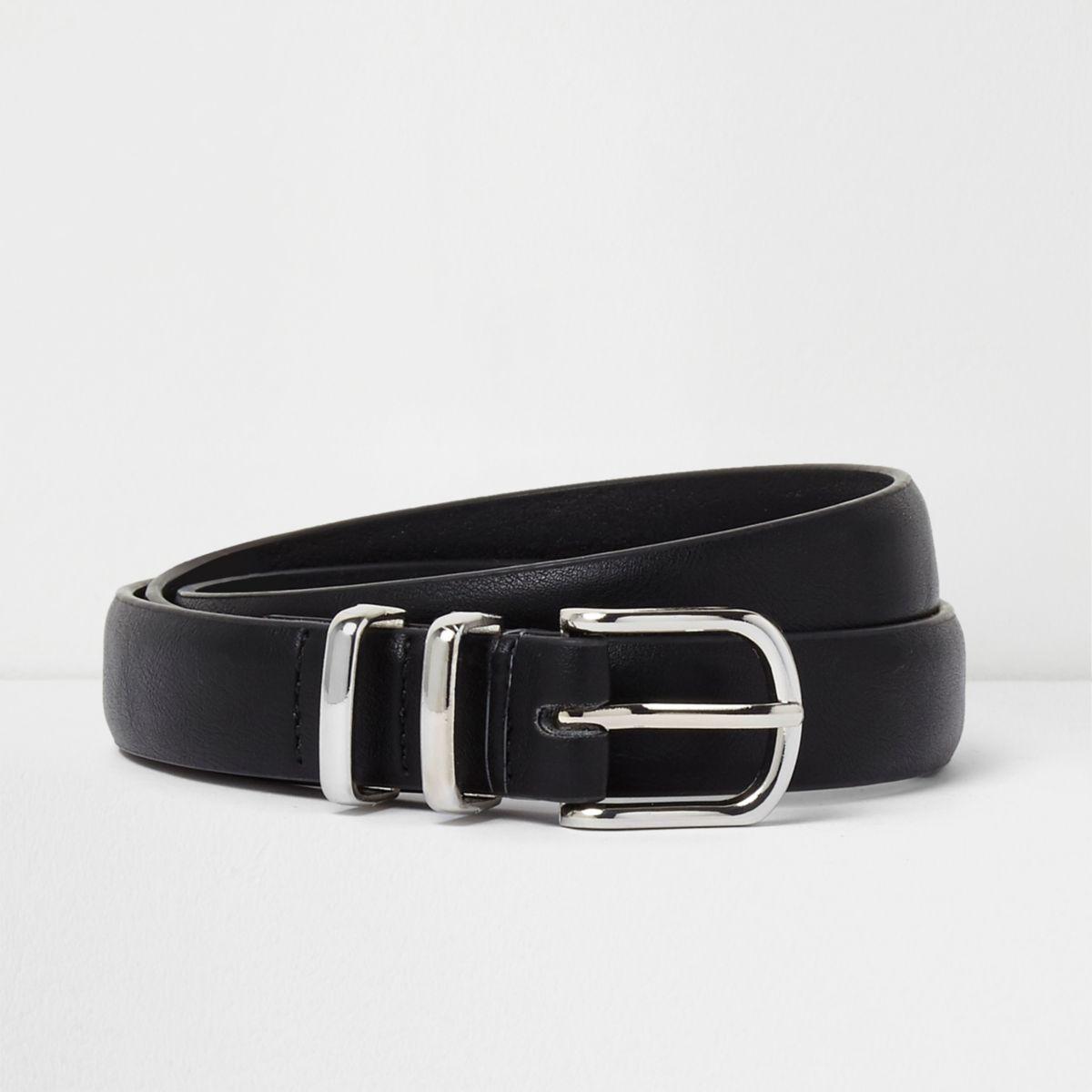 Black silver tone double hoop keeper belt