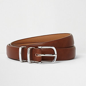 Brown silver tone double keeper belt