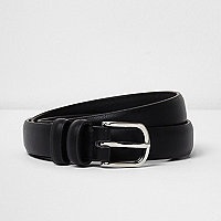Black double hoop keeper  belt