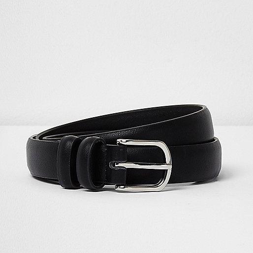 Black double hoop keeper  belt