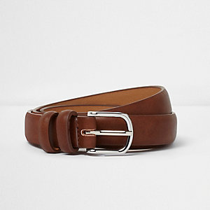 Brown double hoop keeper belt