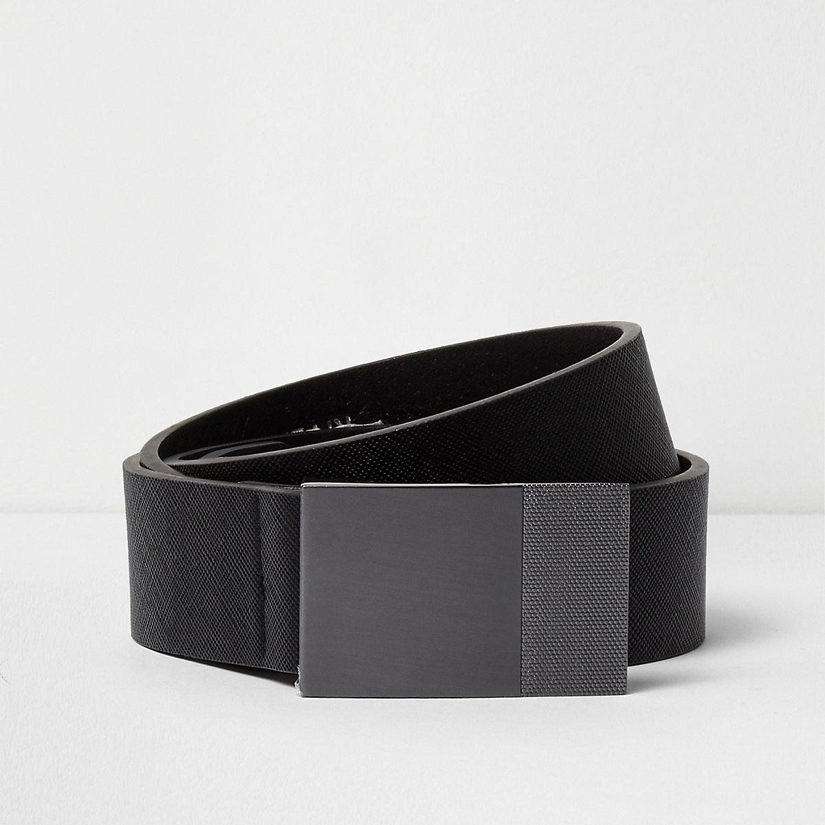 Black textured plate buckle belt