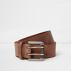 Tan distressed leather gunmetal buckle belt