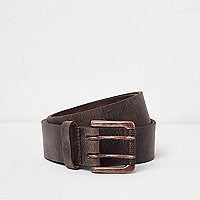 Grey distressed leather gunmetal buckle belt