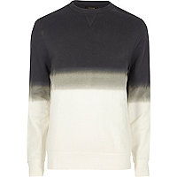 White dip dye crew neck sweatshirt