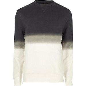 Wit dip dye sweatshirt met ronde hals