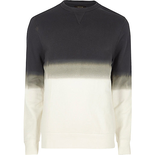 White dip dye crew neck sweatshirt