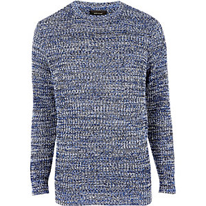 Blue ribbed knit slim fit sweater