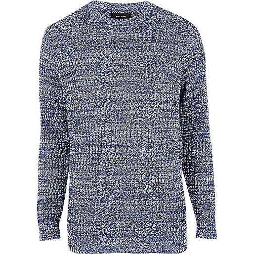 Blue ribbed knit slim fit jumper