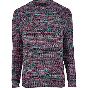 Pink ribbed knit slim fit sweater