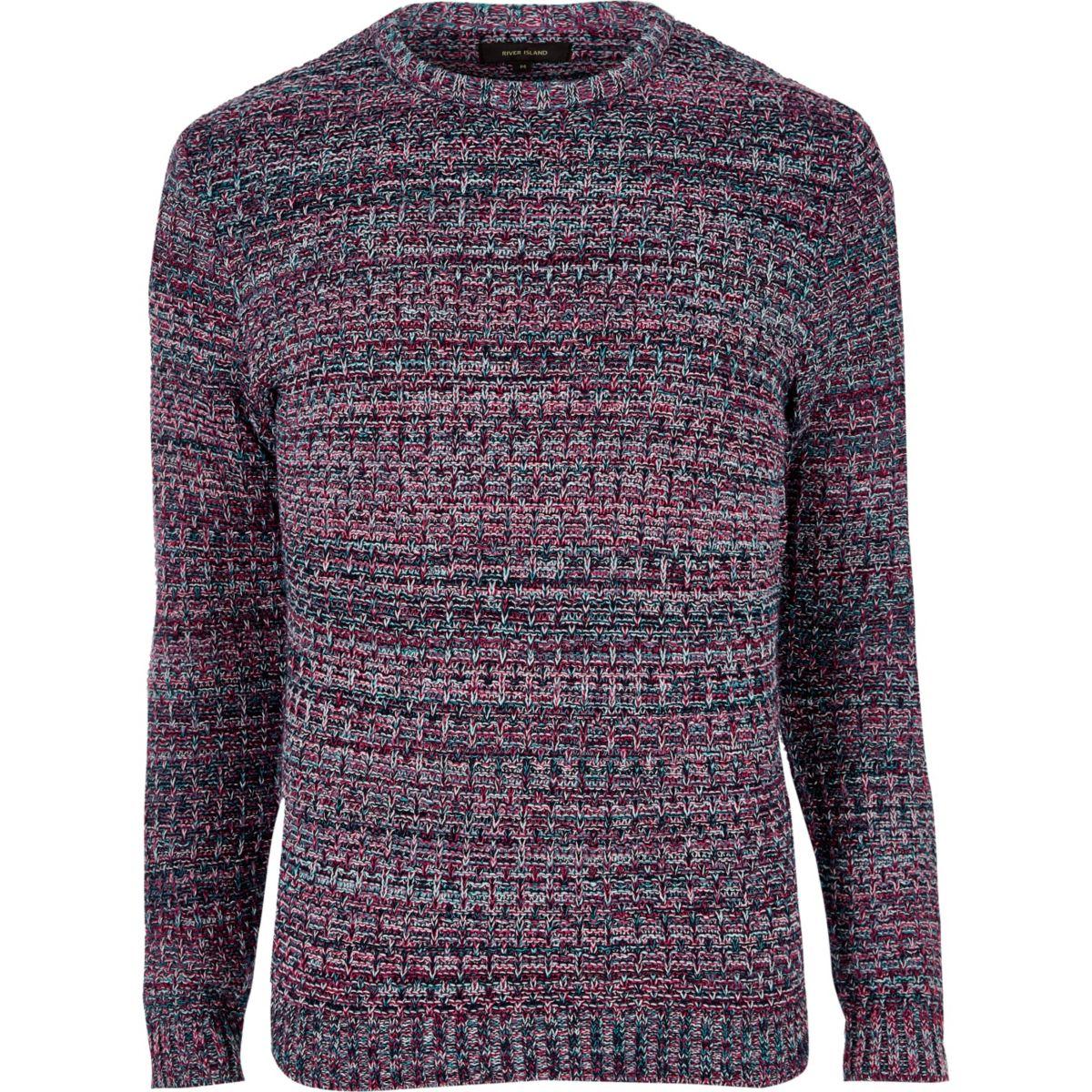 Pink ribbed knit slim fit jumper