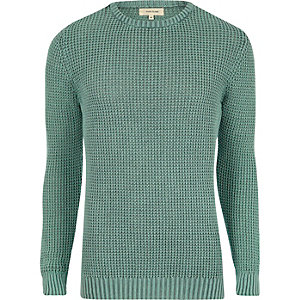 Pull coupe slim en maille texturée vert clair
